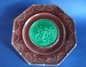 Wedgwood Octagonal Majolica 'Email Ombrant' Dancing Putti Plate c1867